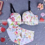 Floral print sexy fancy bra panty set ladies underwear sexy bra and panty new design women set bra underwear