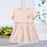 Wholesale 100% Natural Cotton Baby Girls Princess Dress Short Sleeves Summer Casual Style