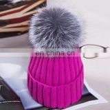 Solid color women crochet hats with large real silver fox fur ball wholesale