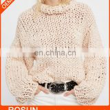 Oversized sweater Tunics for women of long sleeve apricot knit ladies tops with latest chunky handmade design as crochet