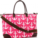 full printed anchor travel bags with leather shoulder from China