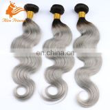 Ombre Two Tone Color 1BTGrey Weaving Virgin Peruvian Hair Bundles 100% Humna Gery Hair Weaving Dubai