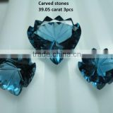 London Blue topaz cabochon Loose Calibrated Briolettes Faceted cut carved cut