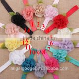 Chiffon flower green leaves hair accessories thailand hairband baby flower headband MY-AC0040