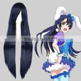 High Quality 100cm Long Straight Umineko no Nakukoroni-Furudo Erika Dark Blue Synthetic Anime Wig Cosplay Hair Wig Party Wig