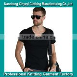 V Shape T Shirt Wholesale 100%Cotton T Shirts Solid Plain T-Shirts Factory Cheap Price Supply