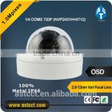 Safety Surveillance Outdoor 1.0 Megapixel CMOS IR 30m Dome Type Waterproof AHD Camera 720P With Vari Focal Lens