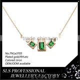 SLS brand jewelry 925 silver necklace with gemstone jewelry fancy necklace green stone necklace for lady's fashion