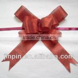 burgundy metallic fabric pull bow