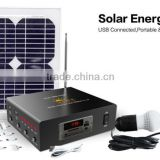 10W 20W lithium ion battery solar panel system with MP3 player and radio, portable solar power system,system solar
