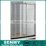 China supplier small adjustable aluminum frame double rollers 3 sides glass sliding plastic folding shower doors