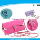Diamond bling phone case for htc one2 m8 wallet leather case