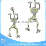 China supplier peridot belly button ring stainless steel jump frog body piercing jewelry