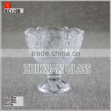 New Products In Market Glass cup/ hot sales design Hand press sun pattern glass plate with foot