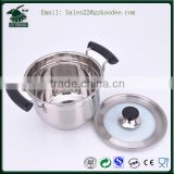 Stainless Steel cookware/ Cooker /cooking pots With Glass Lid and two handles