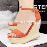 Summer Brand ladies Shoes Luxury Designer Hemp Rope Multi Colored Heels PU leather sexy Platform Wedge Sandals                                                                         Quality Choice