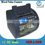 Mixed Value Discriminator Multi-currency Counter Money Sorter Cash Detector Banking Equipment Notes Billing Machine for USD