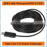 10M Cable 7mm Focus Camera Lens USB Waterproof 6 LEDs Nght Vision 1/12 CMOS Mini Video Endoscope Inspection Pipe Camera Snake