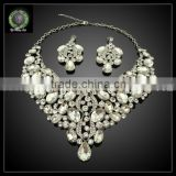 fashion design gold plated necklaces and earrings with crystal statement jewelry sets KHK728