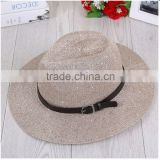 Summer paillette woven paper straw hat with black ribbon strap trim and Big brim beach caps