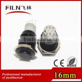 CE 16mm black color 6v blue illuminated pushbutton switch