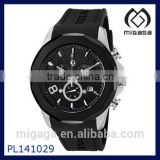 Good quality fashion Silicone strap quartz movement Men's Black Silicone Watch Chronograph