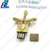 Rhinestone decotive for 3D usb flash drive in antique brass color