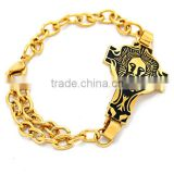 TKB-B0388 Lion Head Cross Bracelets Very Popular Christians Style Jewelry Stainless St 316L Stainless Steel Gold filled