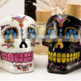 Customized handblown skull shaped hand painting white and black unique special glass ashtray