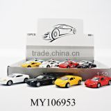 New arrival! No function 1:50 die-cast mini car free wheels toy metal cars 12pcs per display box