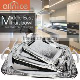 Antique SS410 stainless steel serving tray decorative/3pcs set serving tray/metal tray