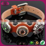 Adjustable snap botton jewelry, brown PU leather with metal snap button