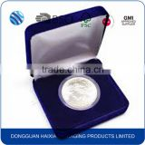 Custom logo medal box , euro velvet coin box manfucture wholesale                                                                         Quality Choice