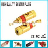 Gold copper shell Banana red binding pose Speaker Cable Amplifier Terminal Plug
