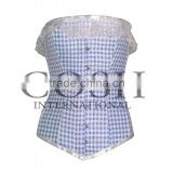 Overbust Steel Boned Corset with blue and white checked fabric with lace