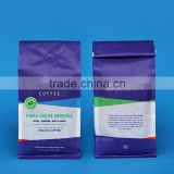 china supplier manufacture quad seal box pouch/square bottom stand up plastic coffee beans bag with valve and tin tie