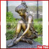 Beautiful Little Girl Bronze Garden Statue