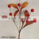 "high quality newest special artificial holly leaves and foam red berry pick 9.5"" branches pick for chrismas home decoration pick"