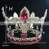 fashion red stone tiara full round pageant crown