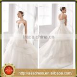 A31 2016 Romantic Cathedral Train Bridal Formal Party Gown with Big Ruffle Appliqued Bodice Organza Wedding Dress for Weddings