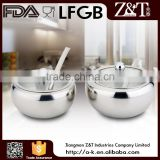 3 PC stainless steel elegant sugar bowl with glass lid