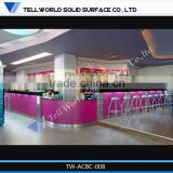 Elegant night club bar counter design led lighted Man made artificial marble bar counter