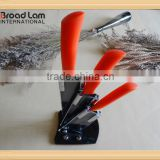 Best quality Orange PP Handle Black Blade Ceramic Kitchen Knife Set 3 knives in Acrylic Stand
