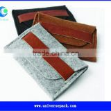 Soft material felt bracelet gift bag with pu leather
