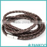 New Fashion 5 layer PU Braided Leather Bracelets & charm Bangle Handmade Round Rope Turn Buckle Bracelet For Women Men