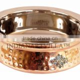 IndianArtVilla High Quality Steel Copper Handi Serving Bowl 750 ML - Serving Dish Curry Home Hotel Restaurant Tableware