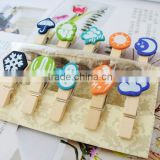 wooden crafts mini pegs clothes clips with weather design wooden crafts pin for kids as gifts