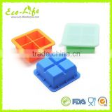 High Quality 4 Cavities Square Silicone Ice Cube Tray with Lid, Baby Food Storage Box,Freezer Tray