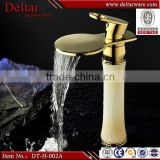 Gold plated waterfall faucet ,oak wood cabinet faucet , marble counter basin mixer