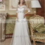 Custom Made Plus Size Maternity Wedding Dresses With Half Sleeve Empire Crystal Beaded Sash Lace Applique Bridal Gowns ML066